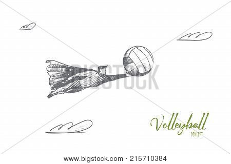 Volleyball concept. Hand drawn superhero with volleyball ball in his hand. Flying hero starting sportive competition isolated vector illustration.