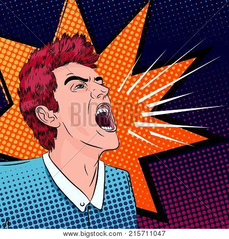 very excited man screaming loud, pop-art stylized conceptual illustration