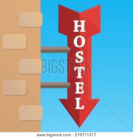 Outdoor hostel sign, flat style for web design