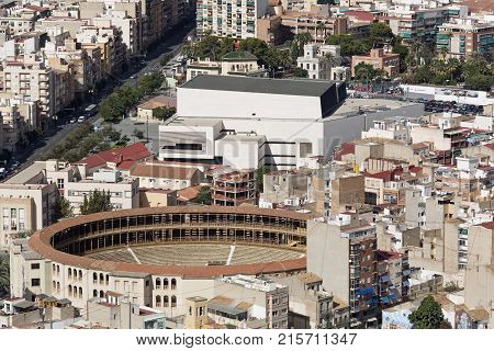 Alicante Spain October 19 2017: Bullring of Alicante is a second category place according to the Royal Decree that organizes the bullring