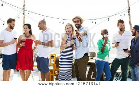 Group of diverse friends are gathering together