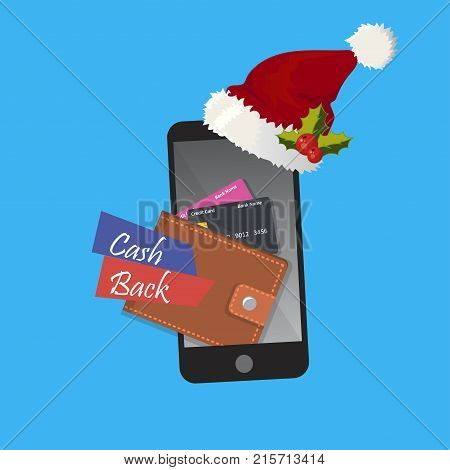 vector digital mobile wallet with cashback or refund. Smart phone christmas app for money transfer or donation. Internet banking or wireless money transfer concept.