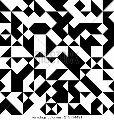 Black and White  Abstract Jewelry Triangle Background, Abstract Geometric Hipster Fashion Design,  Minimal Retro Triangle Seamless Pattern