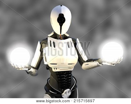 3D rendering of a female android robot holding two glowing spheres of energy or light in her hands against a gray background.