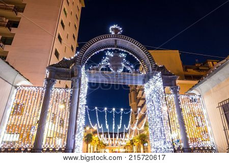 Old 1840s Gate of the former ILVA Ironworks Complex in Follonica at Christmas time
