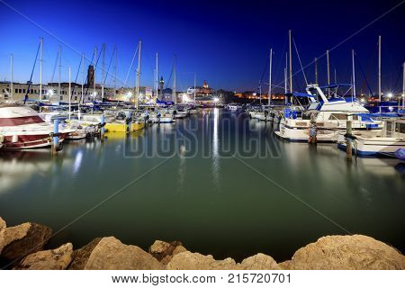 Evening view of the port in Acre. Israel.