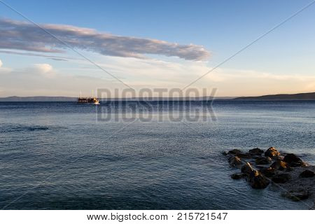 A Small Cruise Ship On The Adriatic Sea In The Evening Near Bask