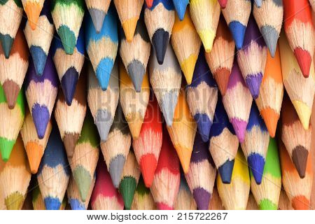 School items. Stationery.Isolated pencils. Colored pencils.Texture of pencils.