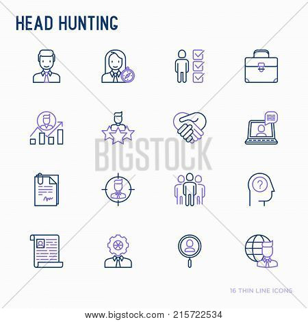 Head hunting thin line icons set: employee, hr manager, focus, resume; briefcase; achievements; career growth, interview. Vector illustration for banner, web page, print media.