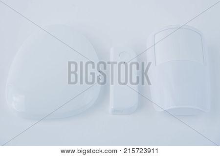 Intruder Alarm System With Motion Sensorisolated On White Background.