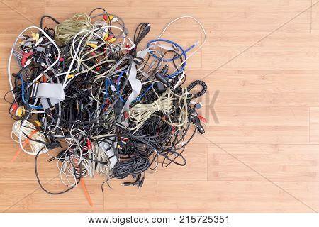 Messy Tangle Of Old Electric Cords And Connectors