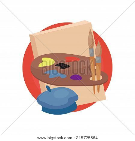 Artist profession icon, artists supplies cartoon vector Illustration isolated on a white backgroun