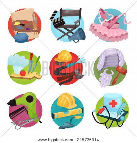 Human occupation icons set, symbols of different professions cartoon vector Illustrations isolated on a white backgroun