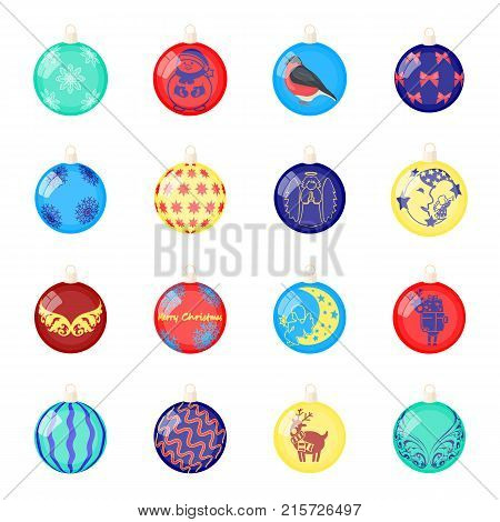 Christmas toys cartoon icons in set collection for design.New Year ballsvector symbol stock  illustration.