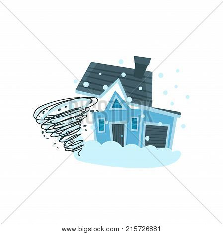 House destroyed by hurricane, property insurance vector Illustration isolated on a white background
