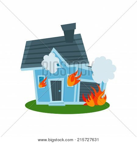 House on fire, property insurance vector Illustration isolated on a white background