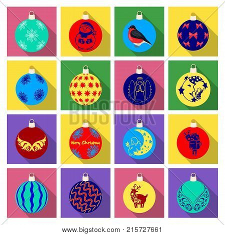 Christmas toys flat icons in set collection for design.New Year ballsvector symbol stock  illustration.