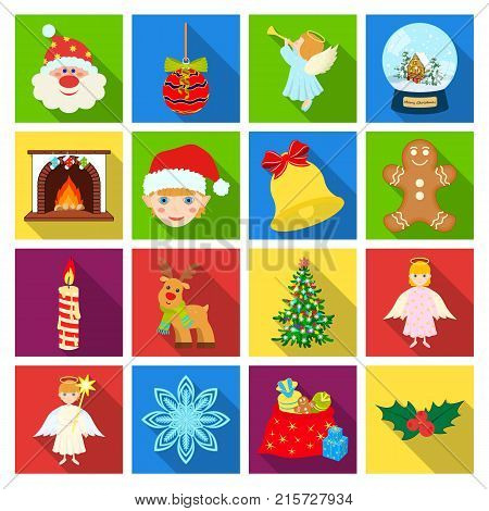 Christmas attributes and accessories flat icons in set collection for design. Merry Christmas vector symbol stock illustration.