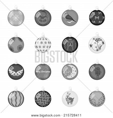 Christmas toys monochrome icons in set collection for design.New Year ballsvector symbol stock  illustration.