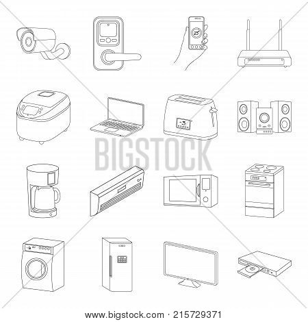Modern household appliances outline icons in set collection for design.Household items vector symbol stock  illustration.