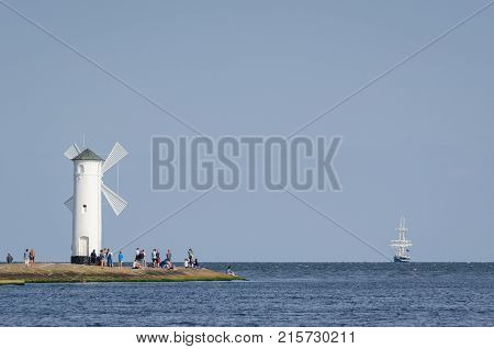 SUMMER SEASCAPE - Stawa Mills, holidaymakers and sailing ship on the horizon