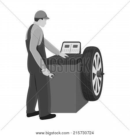 Wheel balancer single icon in monochrome style for design.Car maintenance station vector symbol stock illustration .