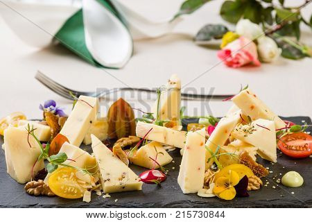 Platter With Different Types Of Cheese