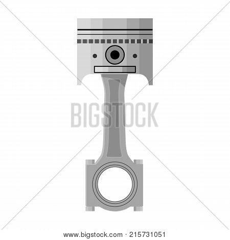 Connecting rod with piston single icon in monochrome style for design.Car maintenance station vector symbol stock illustration .