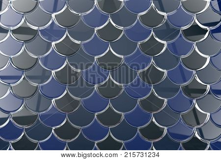 3D abstract render scale background in blue tones.