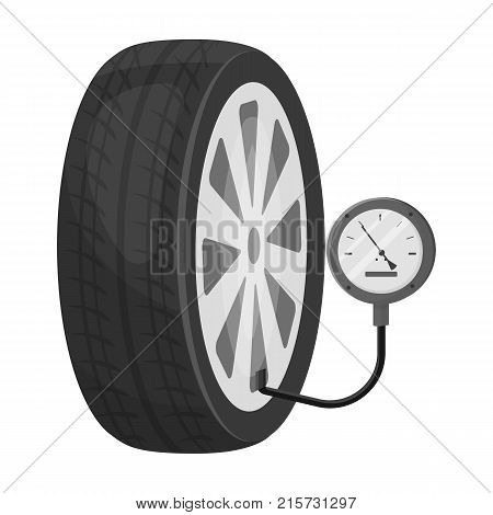 Wheel and manometer single icon in monochrome style for design.Car maintenance station vector symbol stock illustration .