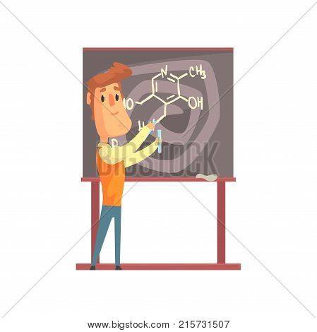 Handsome scientist standing next to blackboard with formula and holding test tubes in hands. Laboratory experiments with liquids. Smart man character. Chemist or biologist. Isolated flat vector.