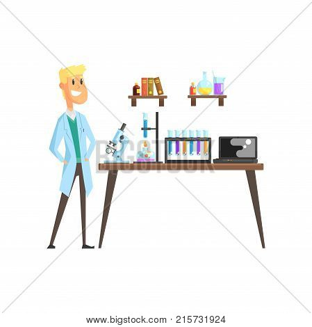 Cheerful young scientist in laboratory. Microscope, test tubes, spirit lamp and laptop on table. Books and glassware with liquids on shelves. Cartoon blond man character in coat. Isolated flat vector.
