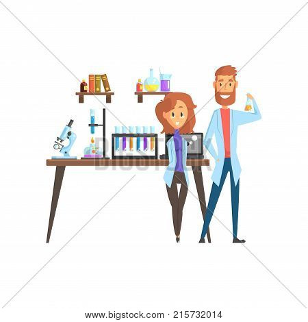 Flat vector of man scientist and girl assistant in laboratory. Smart people characters. Microscope, test tubes, spirit lamp and laptop on working desk, books and glassware with liquids on shelves.