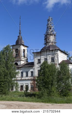 Church of the Merciful on Borovin. Verhovazhsky District, Vologda Region, Russia
