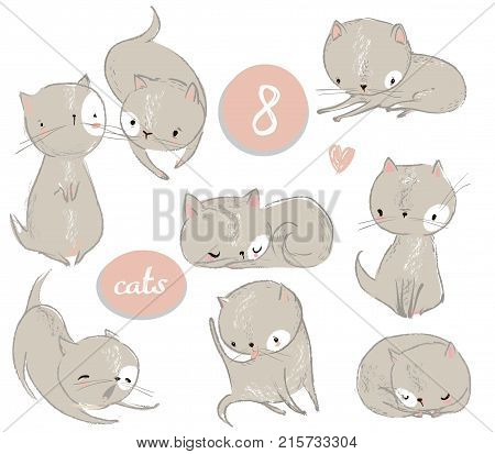 set with cute cartoon kitten. vector illistration