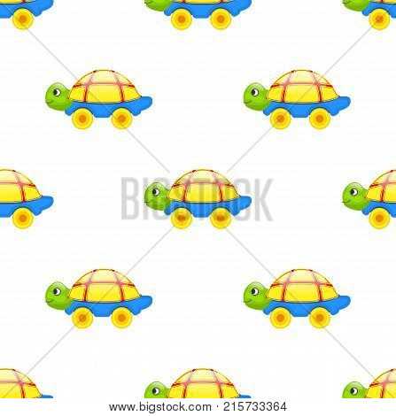Seamless pattern with cute toy turtle with yellow shell, blue bottom and green head on wheels isolated vector illustration on white background.