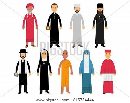 Religion ministers set, representatives of buddhism, representatives of catholicism, islam, orthodoxy, hinduism, judaism religions vector Illustrations isolated on a white background