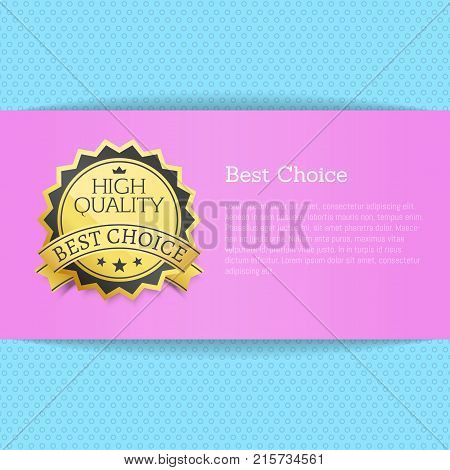 Best choice high quality award vector illustration banner with text on purple place for text and blue backdrop realistic poster, premium homepage design