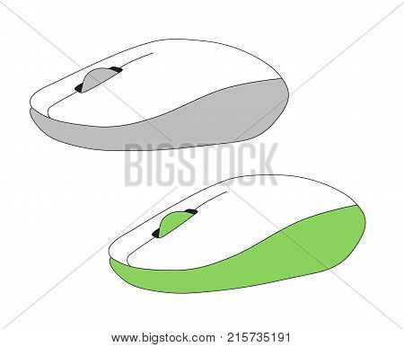 Two Pc Computer Mouse Simple Flat Style Icon Picture Of Grey Mouse And Green Mouse Vector Illustrati