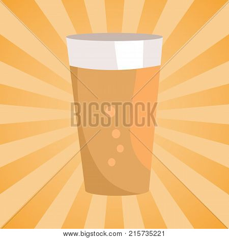 Light alcohol drink with bubbles, symbol of Oktoberfest. Pint of dark beer in transparent glass vector isolated on abstract background with rays.