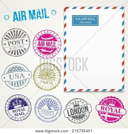 Air mail stamps and envelope vector. Postage vintage delivery illustration