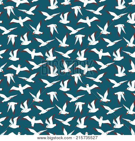 Flying atlantic sea bird seamless pattern background. Vector flat illustration