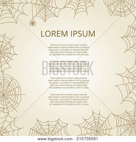 Vintage banner poster with spider and cobweb frame. Vector illustration