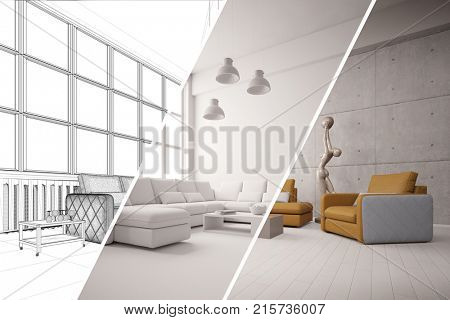 Apartment room planner with CAD interior design room planning draft (3D Rendering)