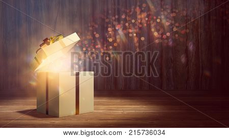 Surprise christmas gift with open lid glowing with magic beam (3D Rendering)