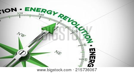 Energy transition concept as energy Revolution for efficiency and sustainability (3D Rendering)