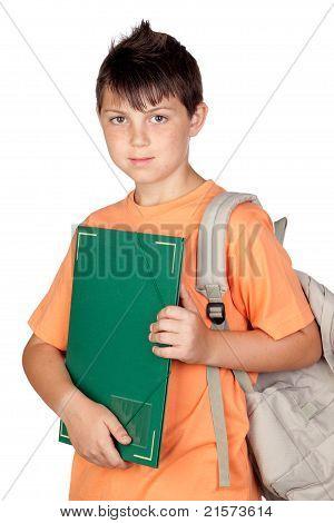 Student Child With Orange T-shirt