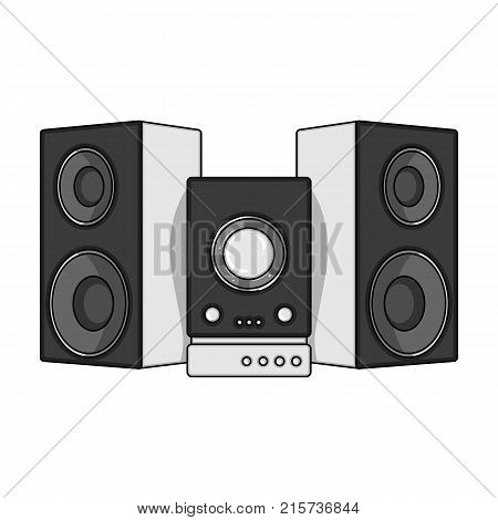Musical, center, single icon in monochrome style.Musical, center, vector symbol stock illustration .