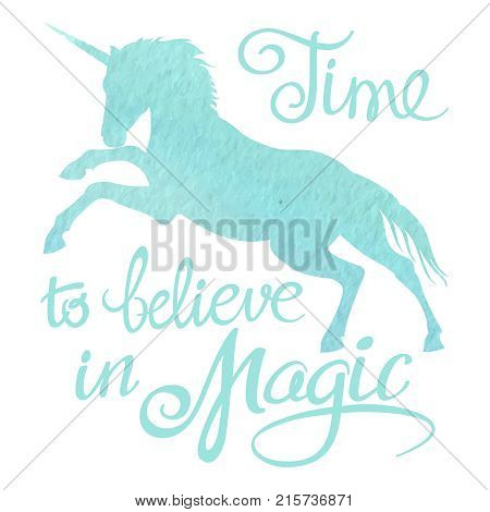 Turquoise watercolor unicorn silhouette and lettering isolated on white background. Vector illustration
