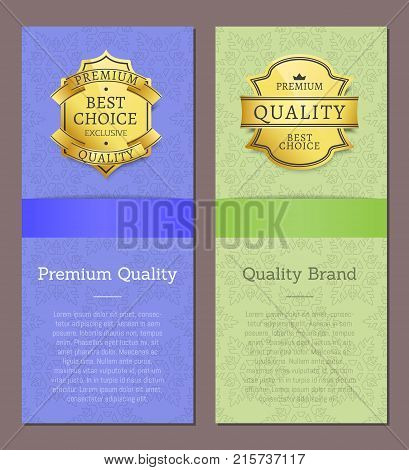 Premium quality brand award best choice vector illustration banner with text and golden label stamp advertisement poster with round tag of gold